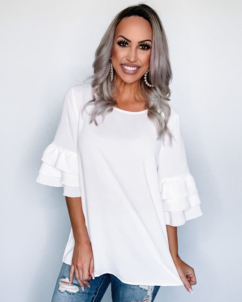 Simple Staple Ruffle Top - White