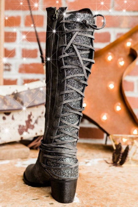Glitter & Lace Boots - Charcoal