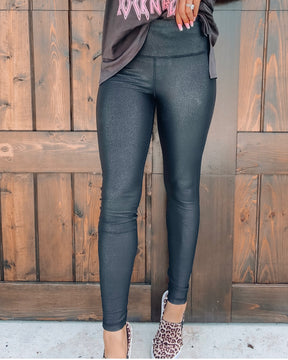 Crackled Leather Leggings