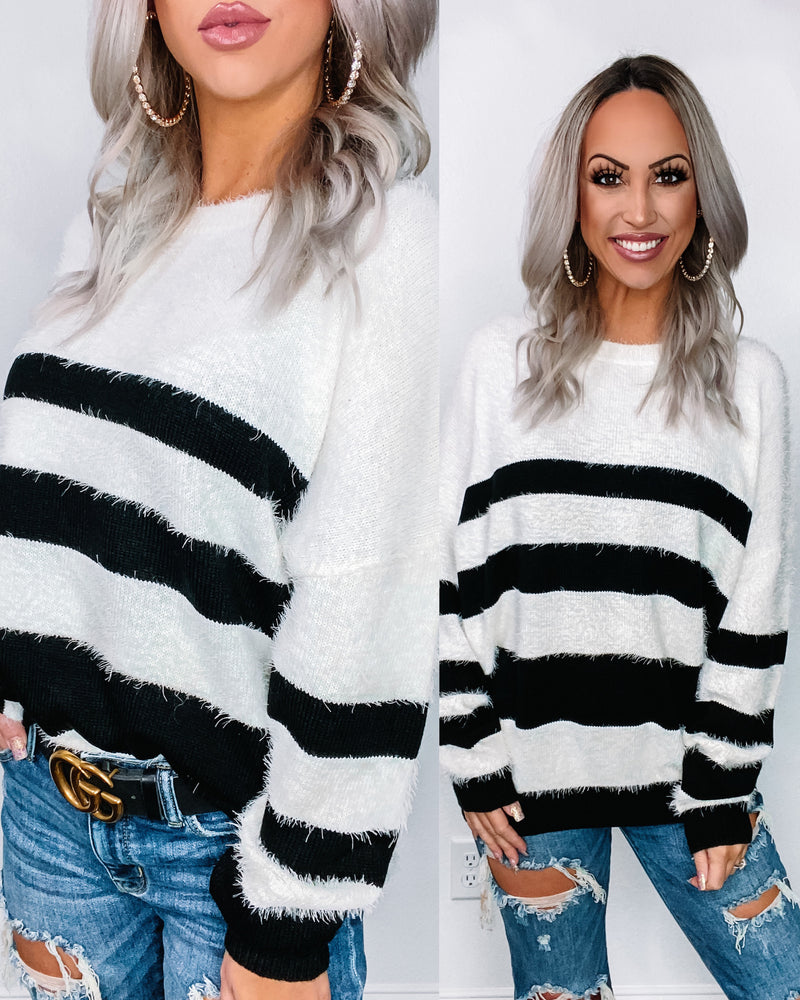 Black Stripe Fuzzy Sweater