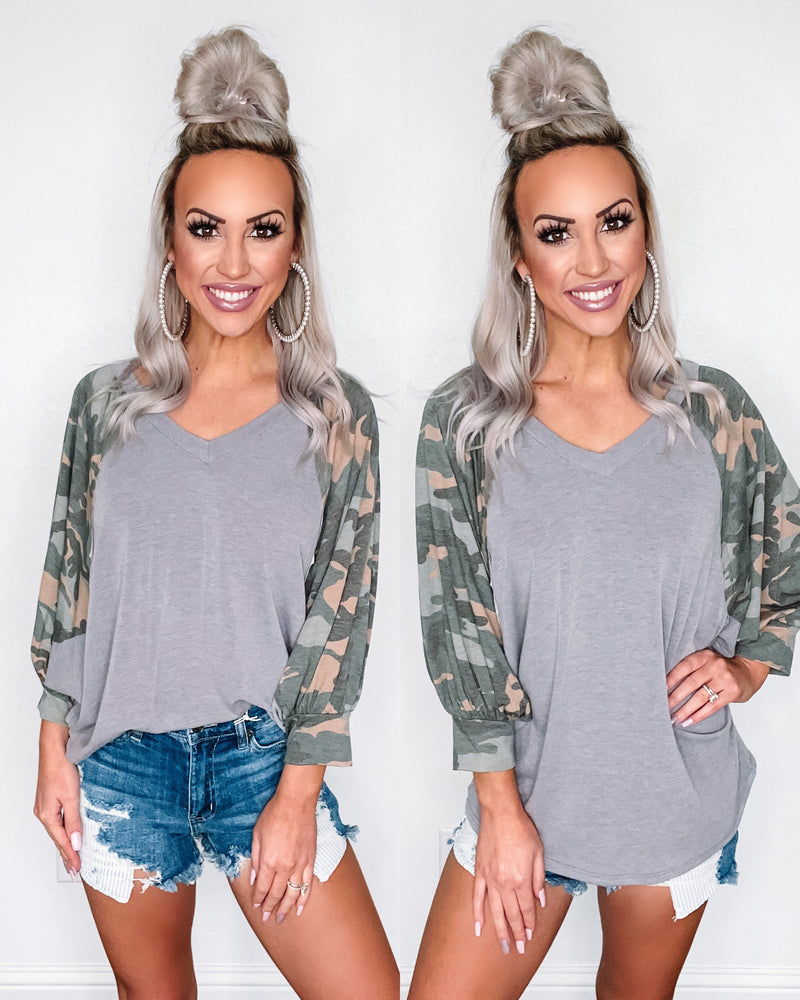 Keep Your Distance Camo Contrast Dolman