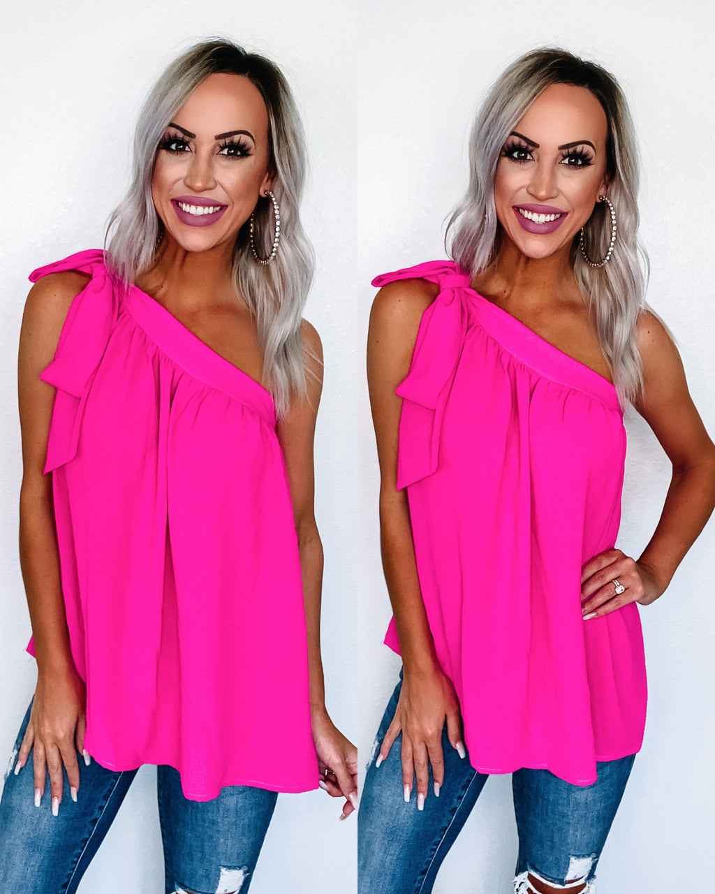 Cosmopolitan Bow Shoulder Top - Hot Pink