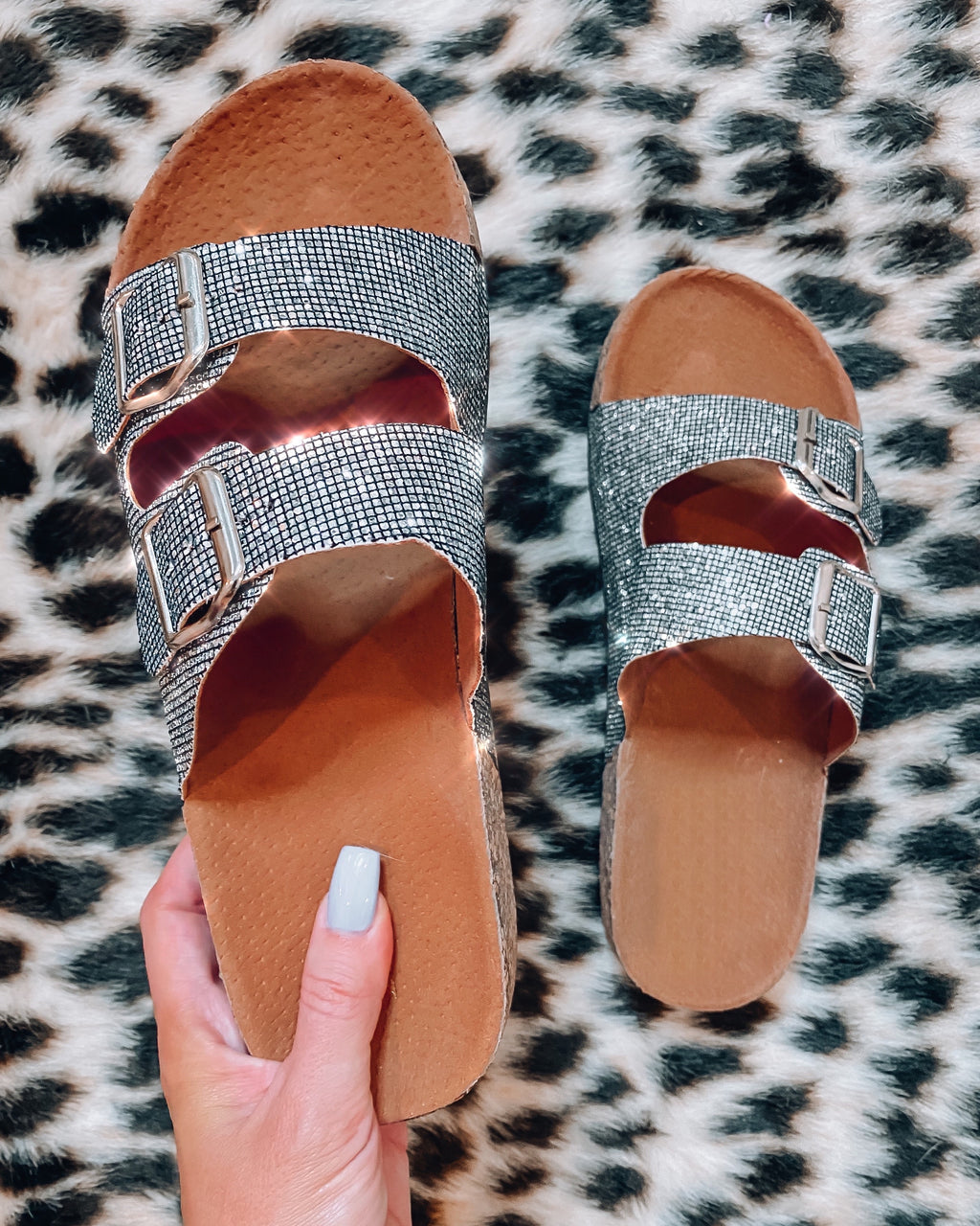 Glitter Birk Sandals - Pewter