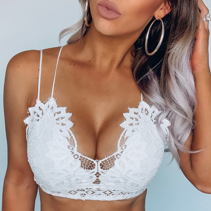 Lace Crochet Bralette - White