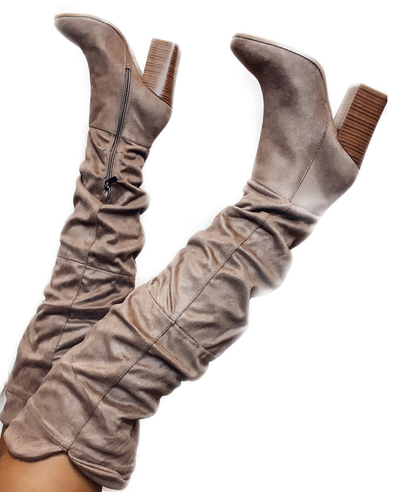 Slayde Knee High Boots - Taupe