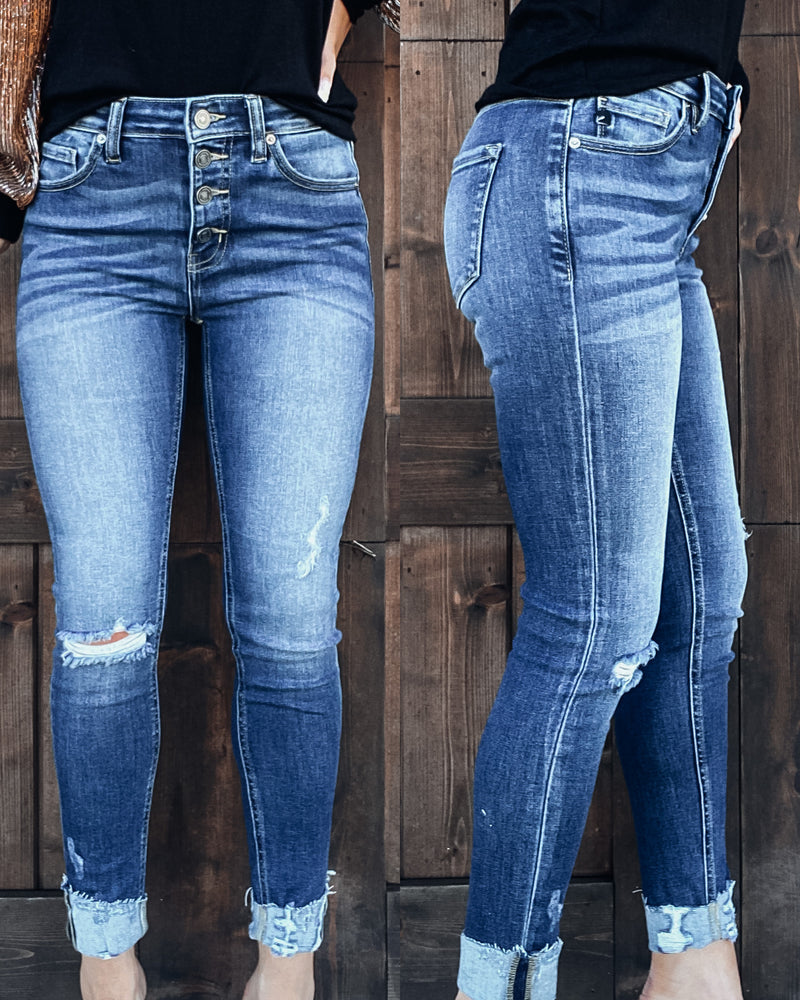 Casey Distressed Button Skinnies