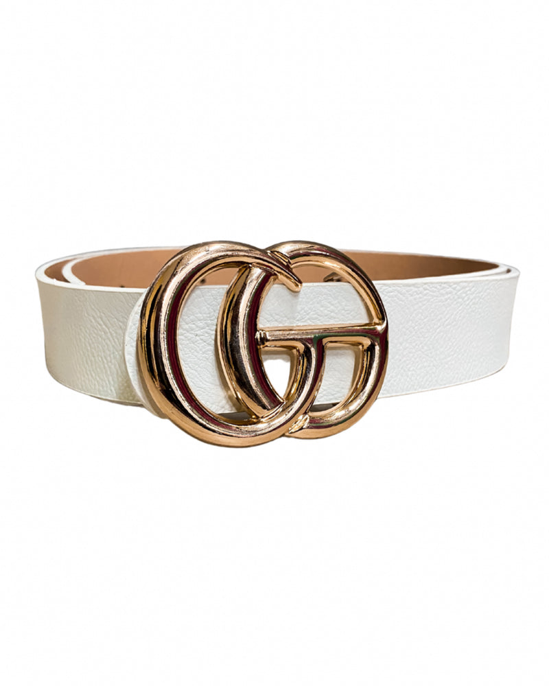 Gia Belt - White/Gold