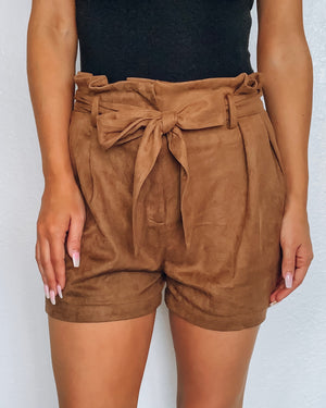 Express Yourself Suede Shorts - Camel