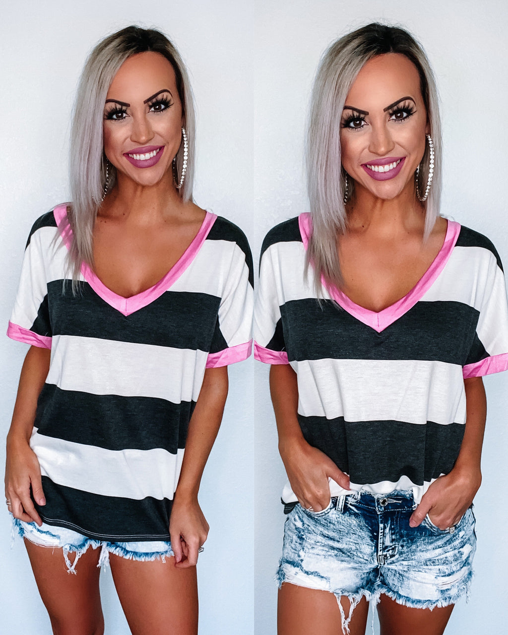 Anything Can Happen Stripe Vneck Top