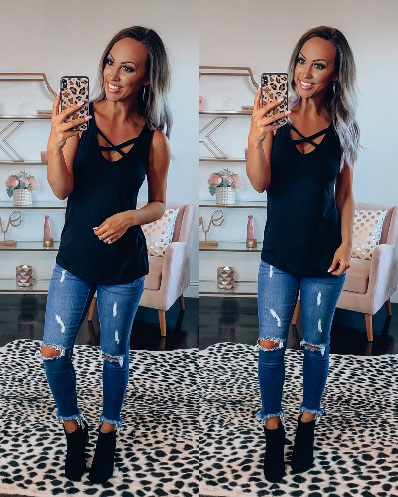 On Fleek Criss Cross Tank - Black