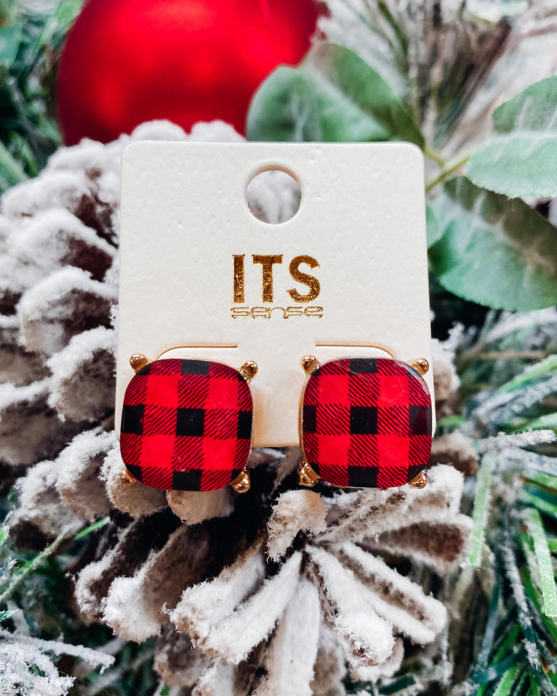 Glitter Stud Earrings - Buffalo Plaid