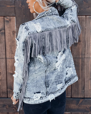 Rebel Heart Fringe Denim Jacket