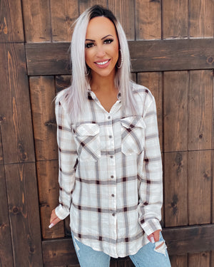 Feel The Rush Plaid Button Up Top