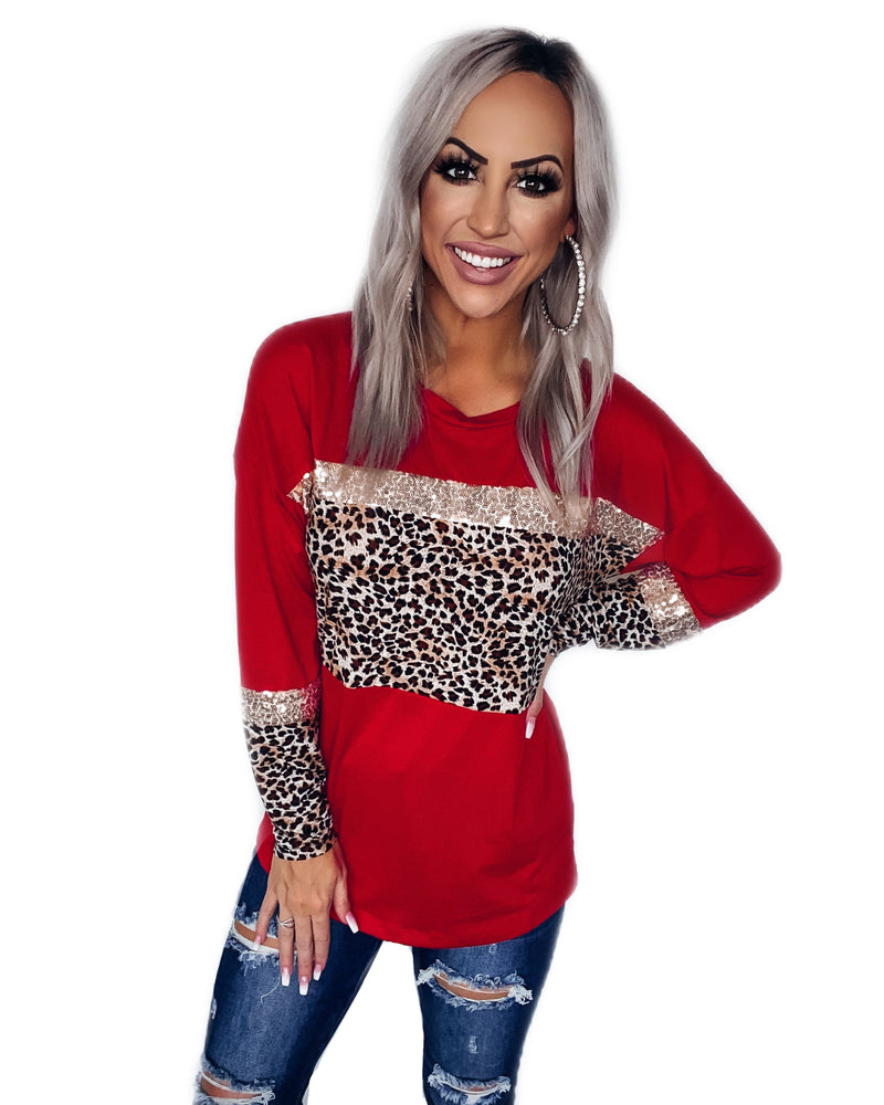 Happy Season Leopard Sequin Top - Red