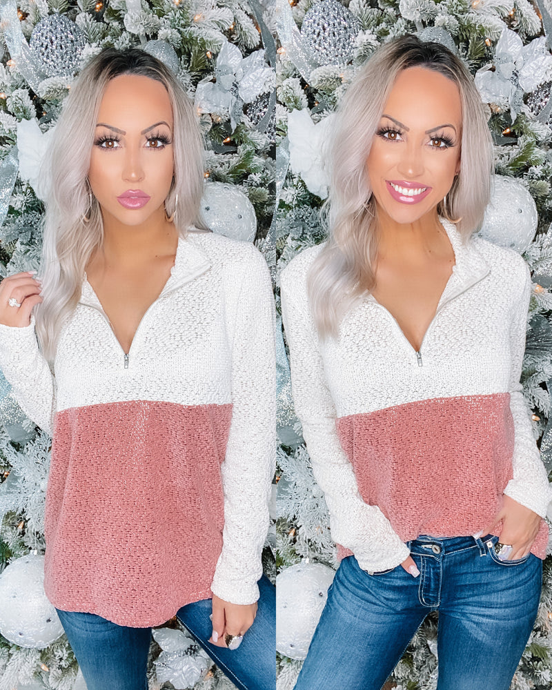 Glimmer Rose Metallic Pullover