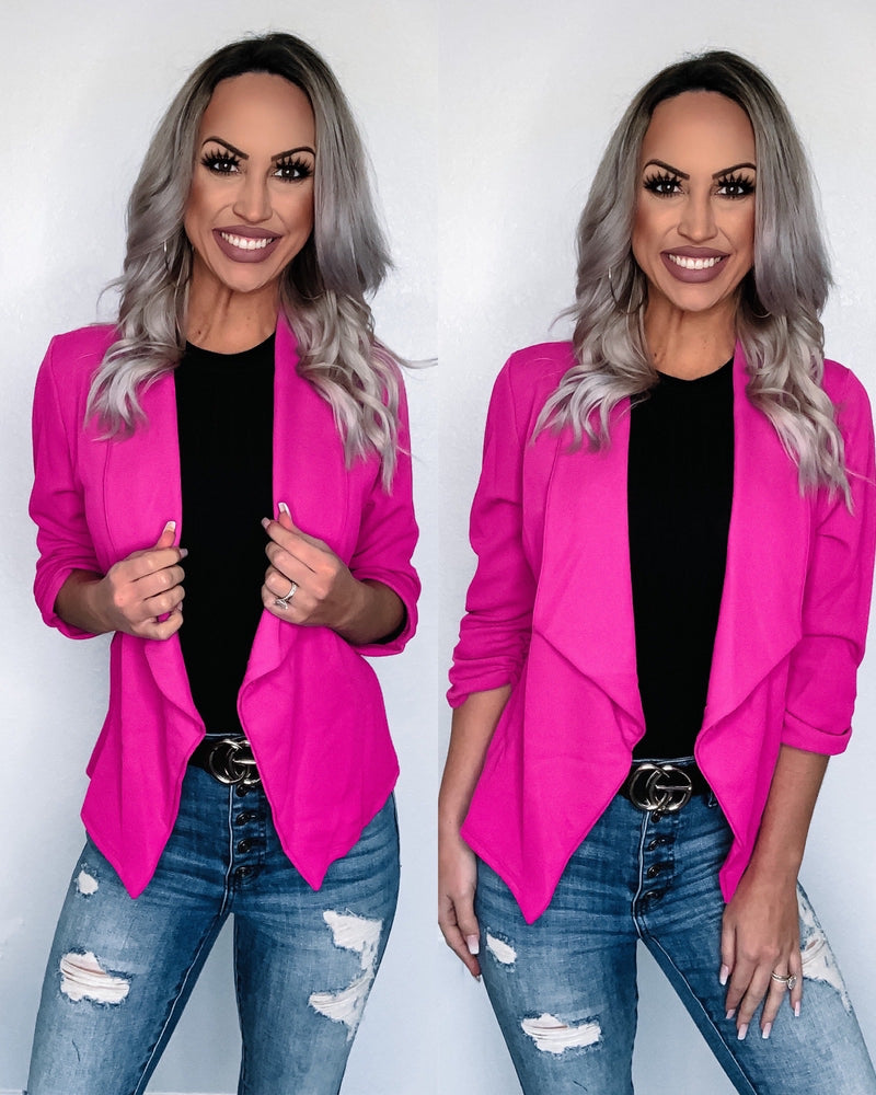 Bossing It Blazer - Fuchsia