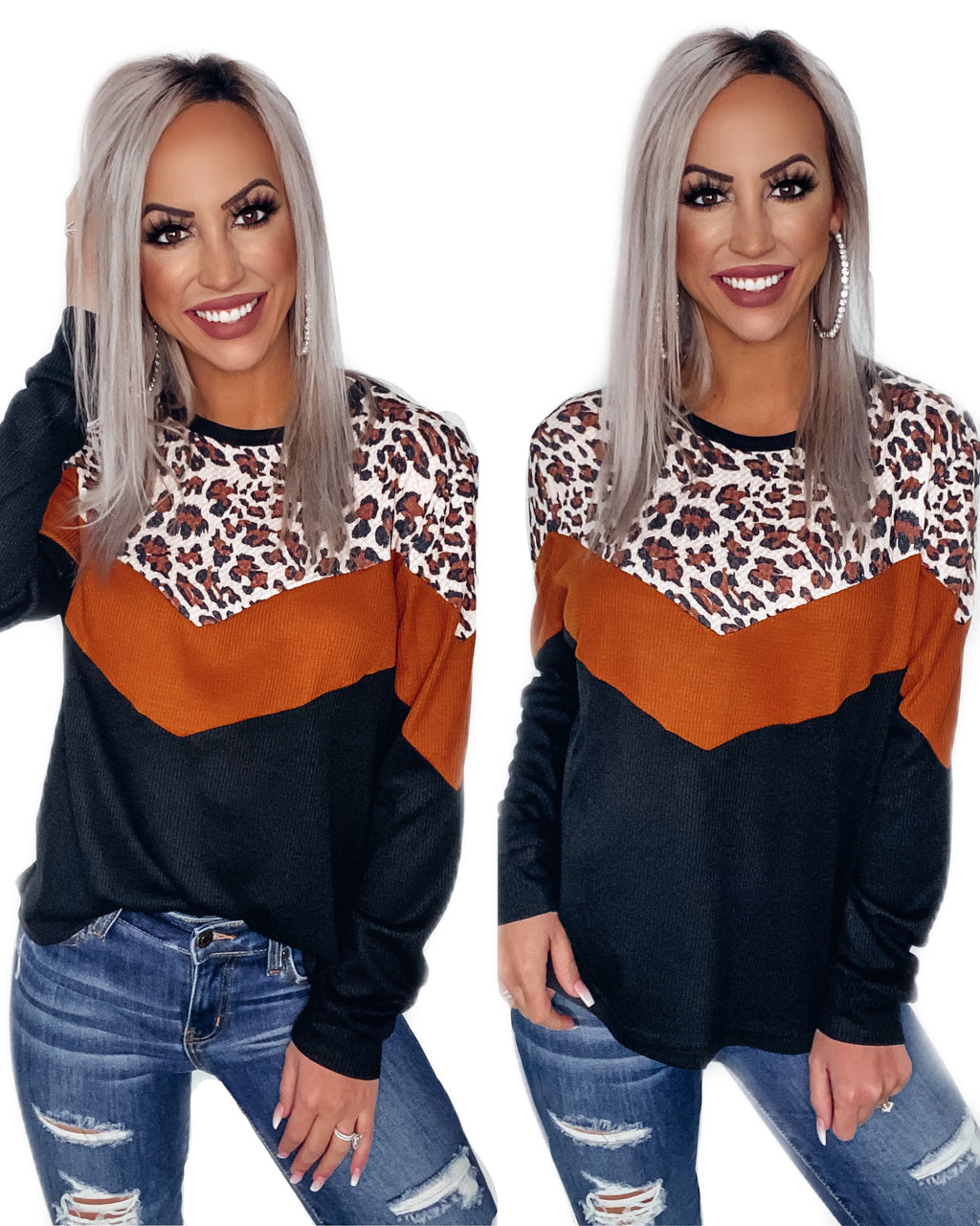 Pick Of The Patch Leopard Colorblock Top - Black/Rust