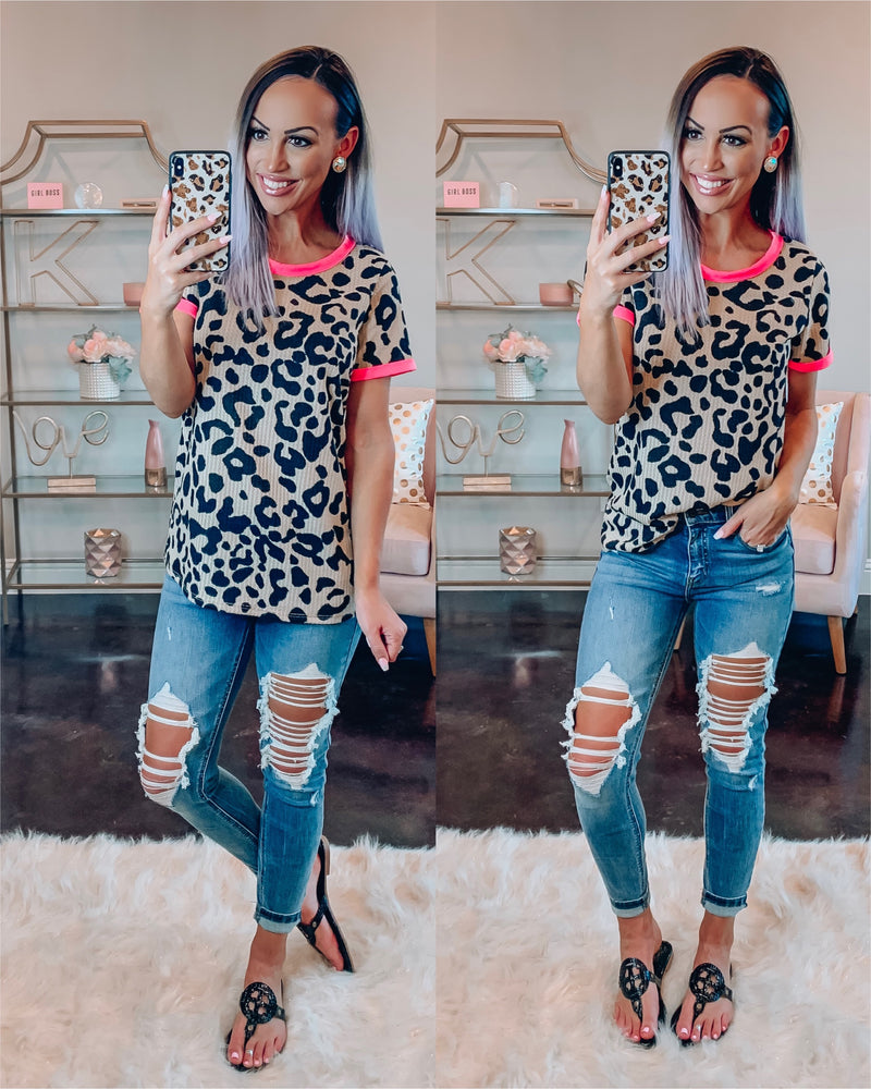 Leopard Chic Waffle Top - Neon Pink