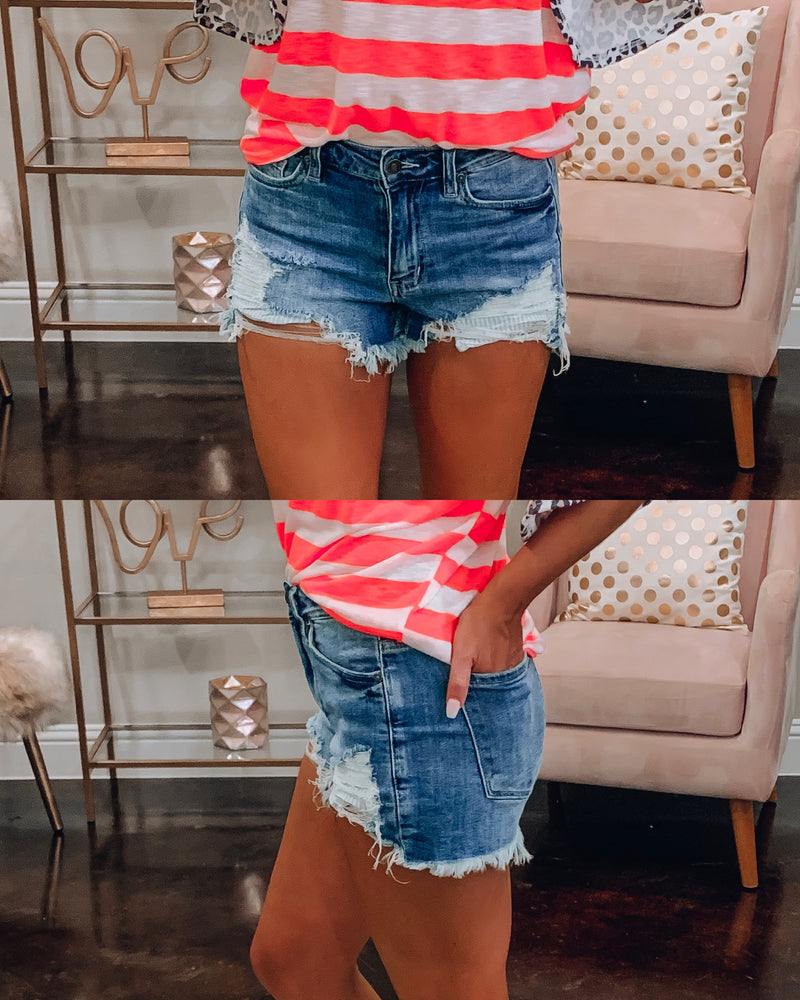Daisy Distressed Cut Off Shorts