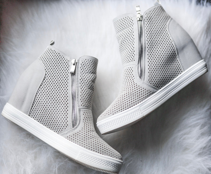 Blakely Wedge Sneakers - Light Grey