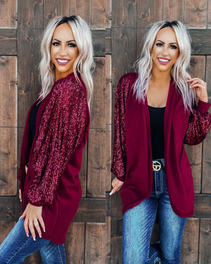 Not Your Average Sequin Cardigan - Burgundy