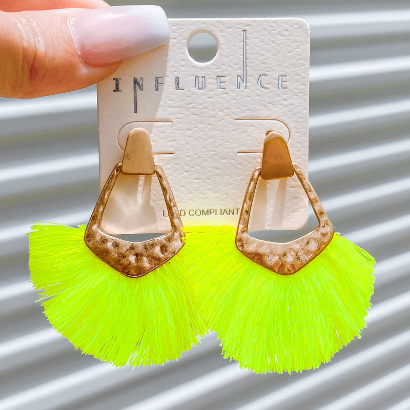 Mini Fan Statement Earrings - Neon Lime