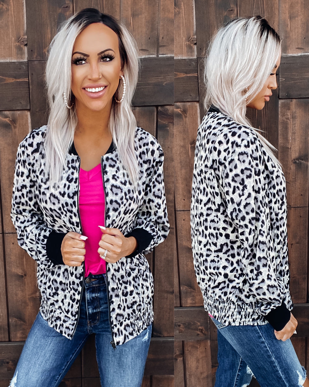 Living It Up Leopard Bomber Jacket