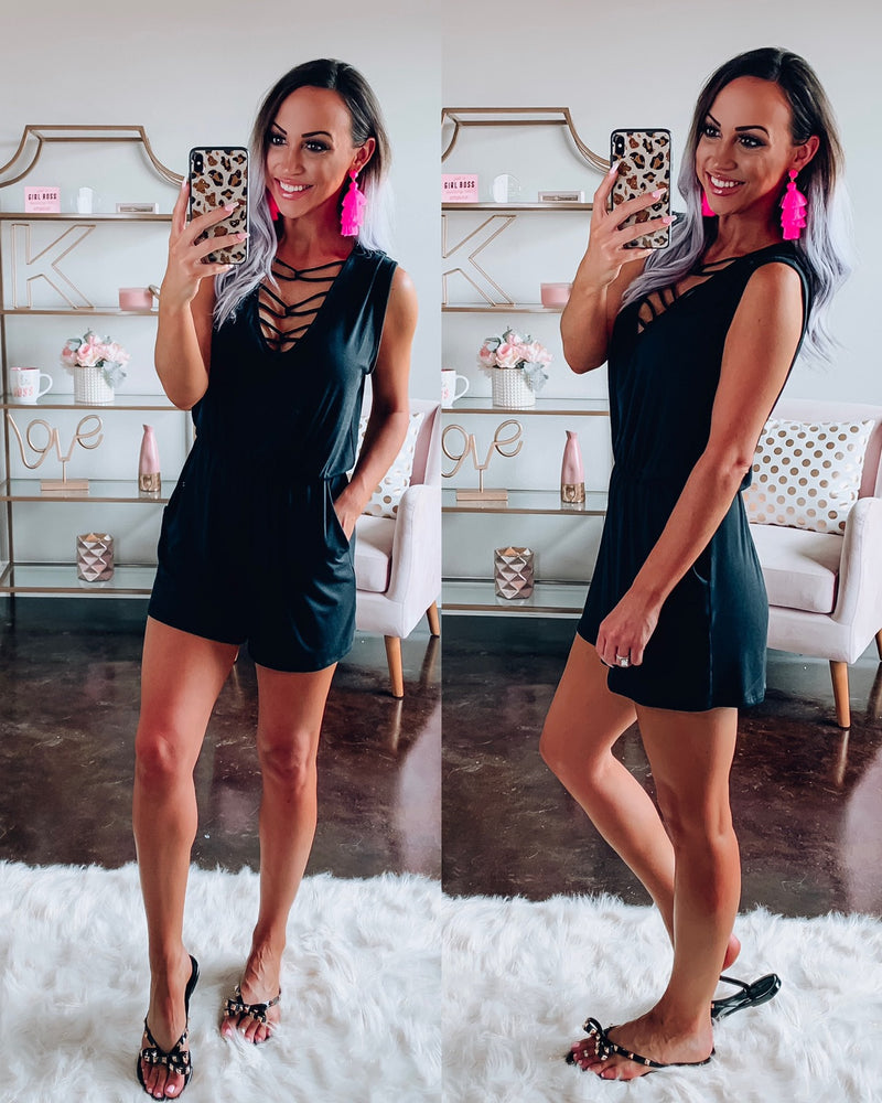 Comfort Criss Cross Romper - Black