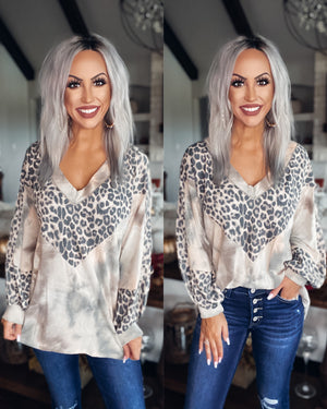 So Sage Tie Dye Leopard Top