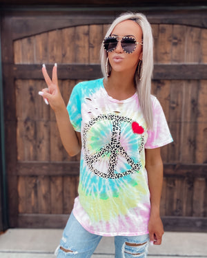 Peace & Love Distressed Graphic Tee