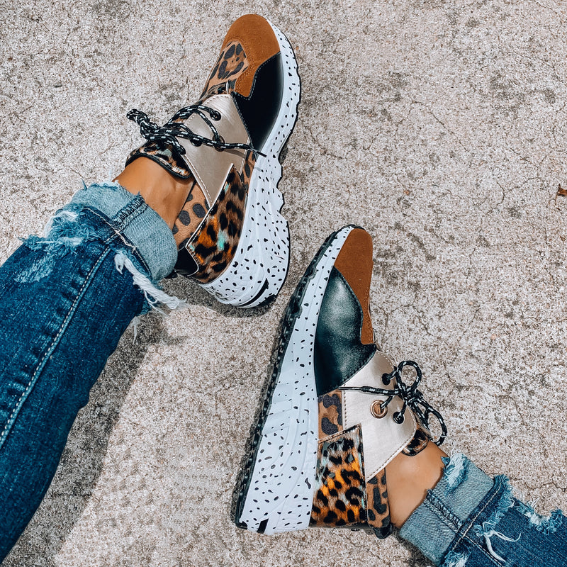 Goal Digger Tennis Shoes - Brown/Leopard