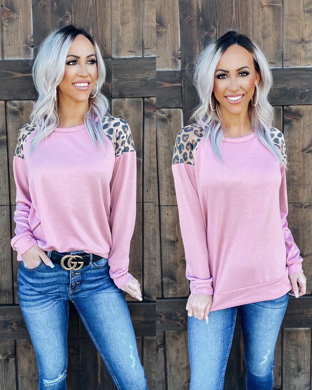 On Trend Leopard Shoulder Top - Mauve