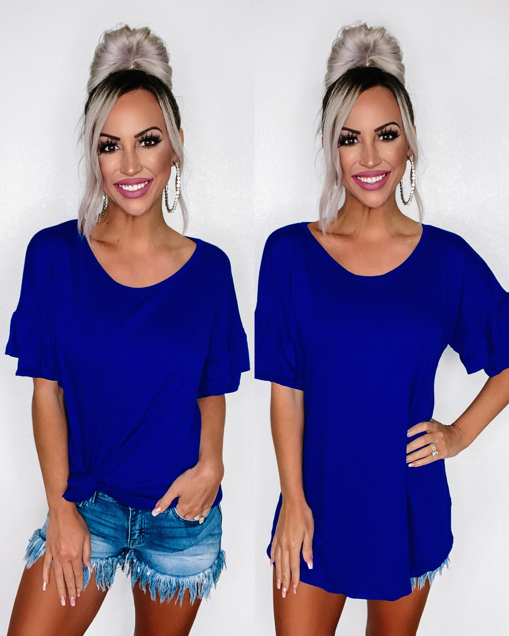 Layla Ruffle Sleeve Top - Royal Blue {BombDeal}