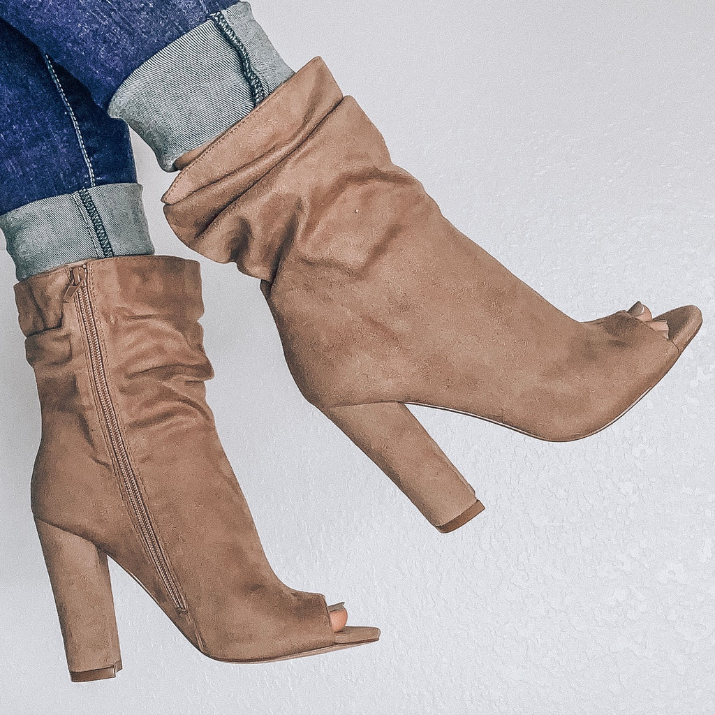 Slouch Open Toe Booties - Taupe