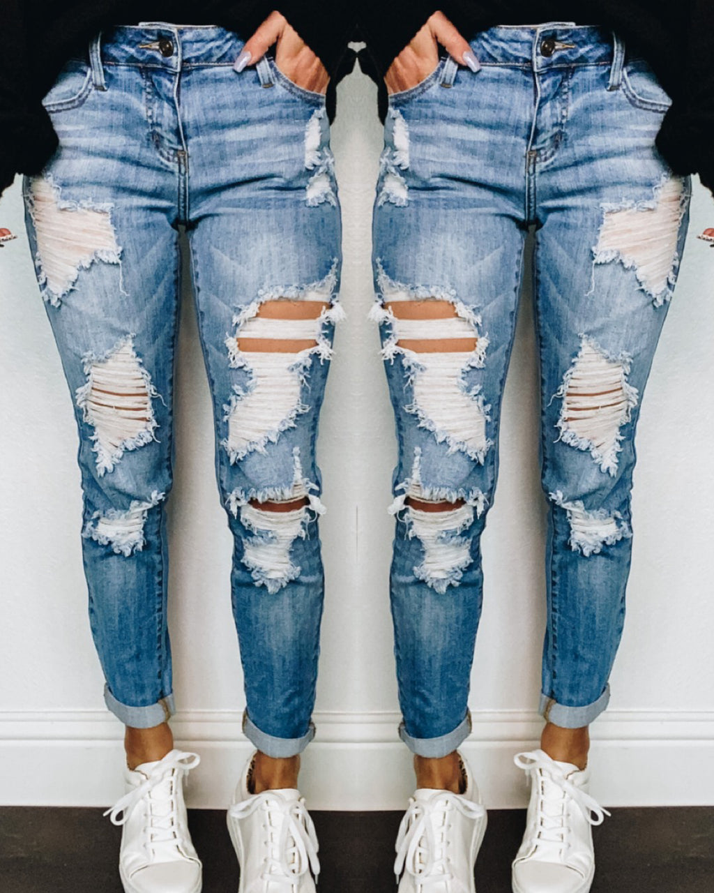 Harper Cropped Distressed Jeans