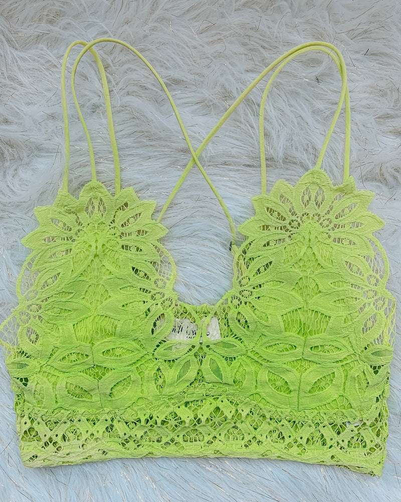 Lace Crochet Bralette - Lime