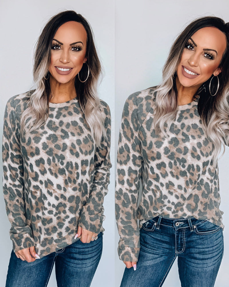 Fleece Brushed Leopard Pullover Top