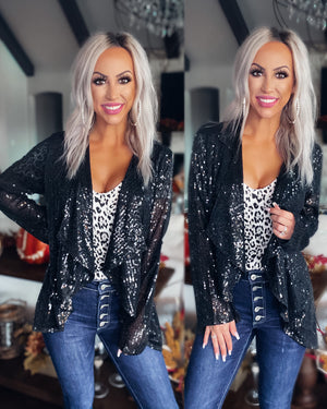 Make It Mine Sequin Jacket - Black