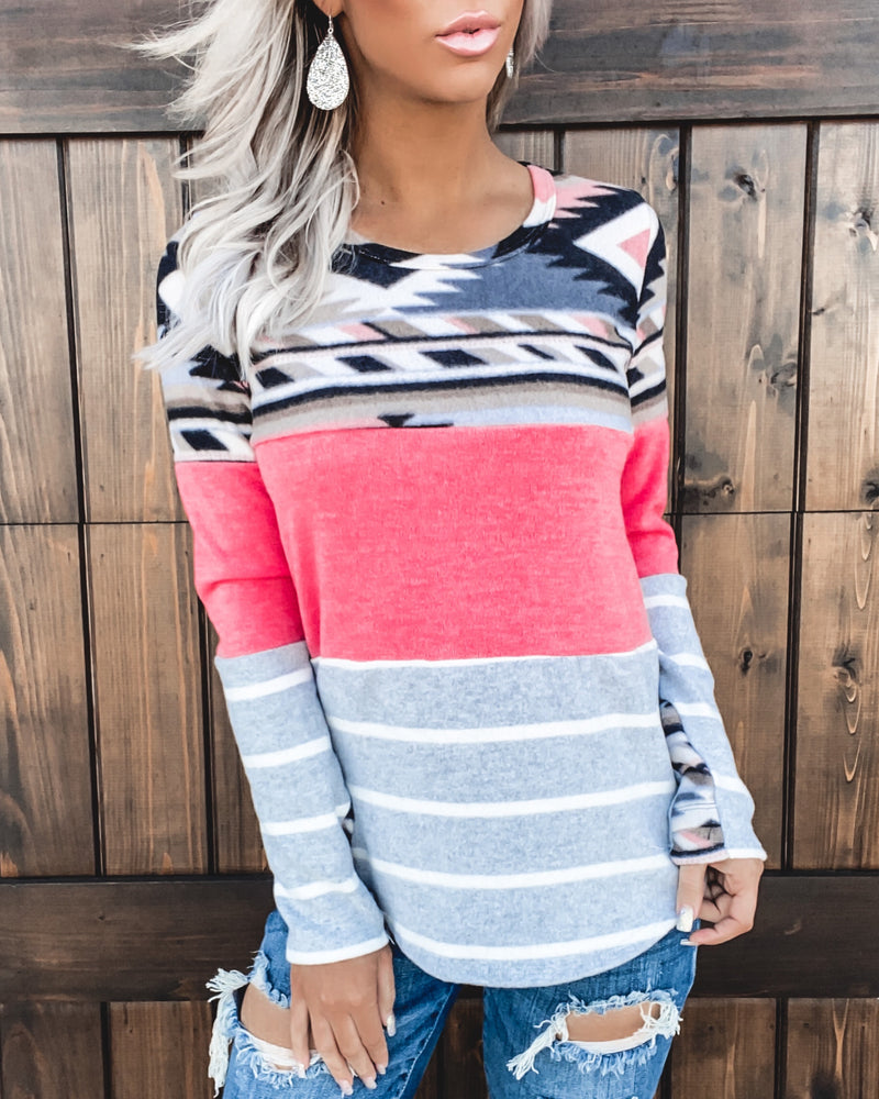 Coral Tribal Colorblock Top