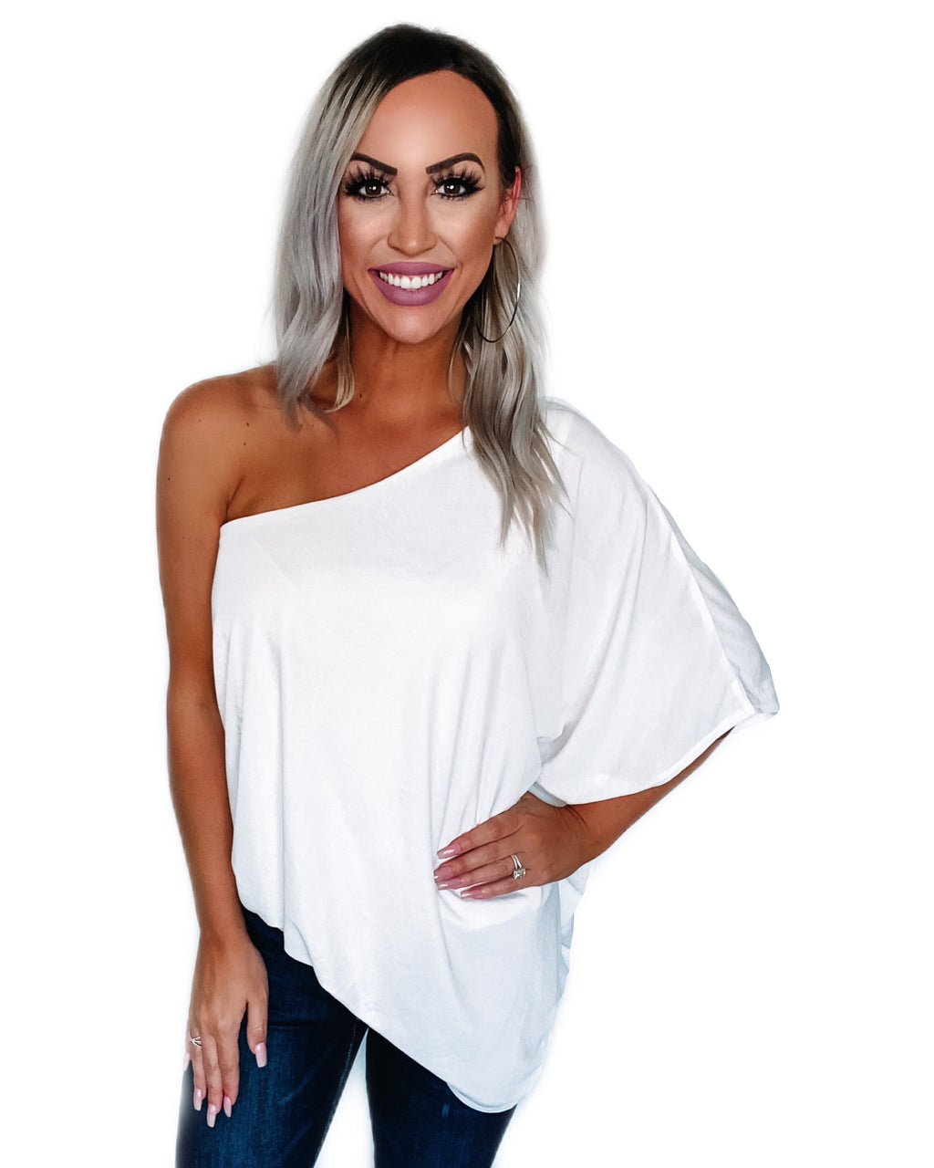 Great Escape One Shoulder Top - White