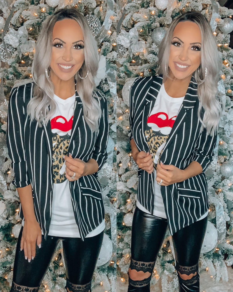 Business Chic Stripe Blazer - Black/White