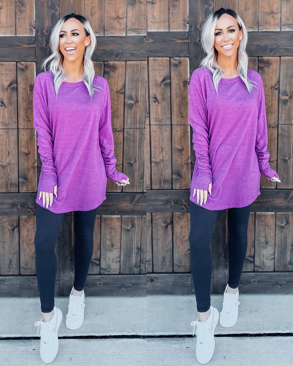 Basic Babe Oversized Tunic - Purple