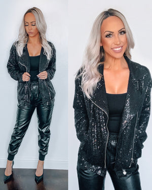 Over The Top Sequin Motto Jacket - Black