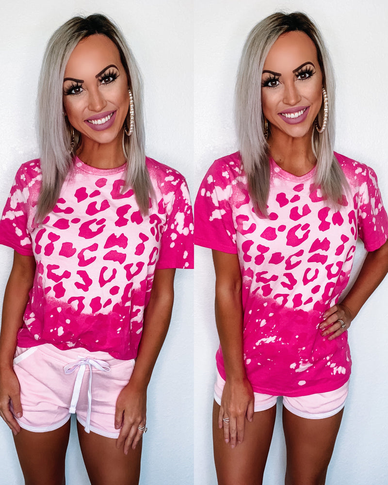 Bleached Leopard Tee - Hot Pink