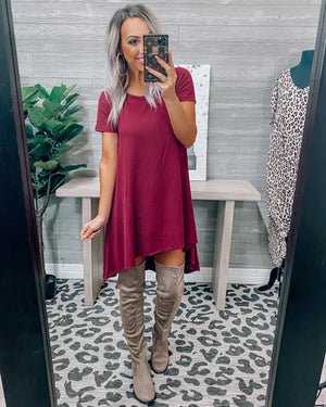 Changing Seasons Hi-Lo Dress - Burgundy {BombDeal}