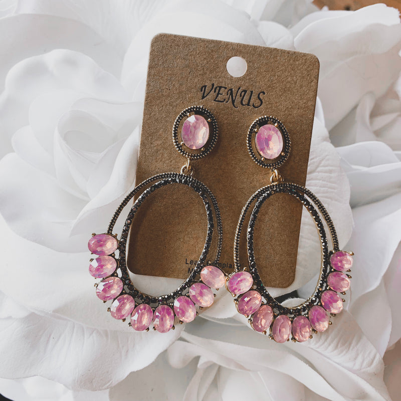 Lexi Rhinestone Drop Earrings - Pink