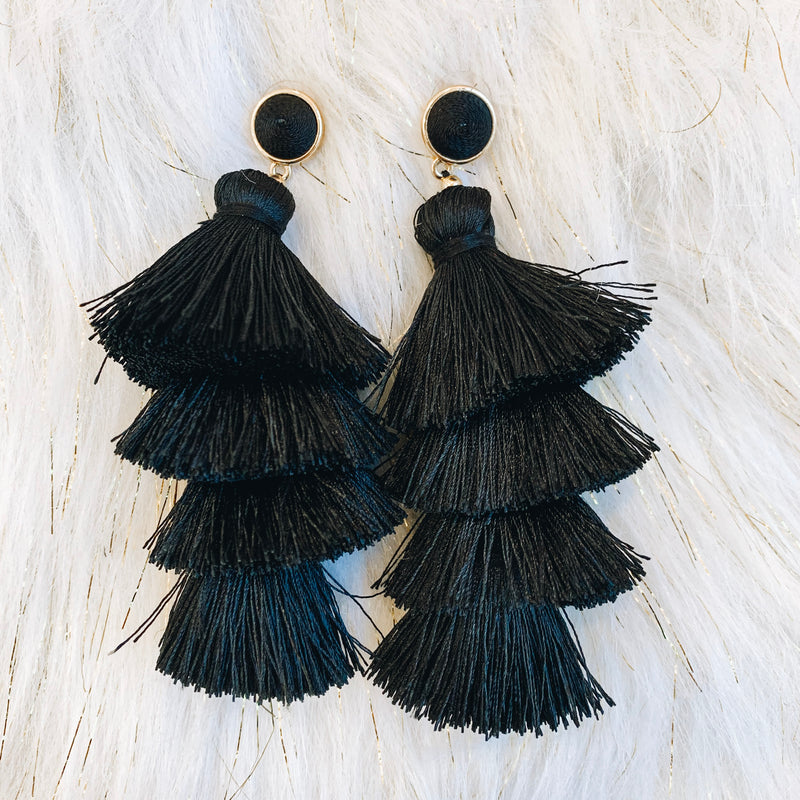 Bright Life Tassel Earrings - Black