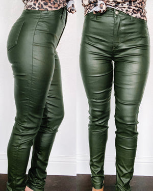 Trixie Faux Leather Skinny Pants - Olive