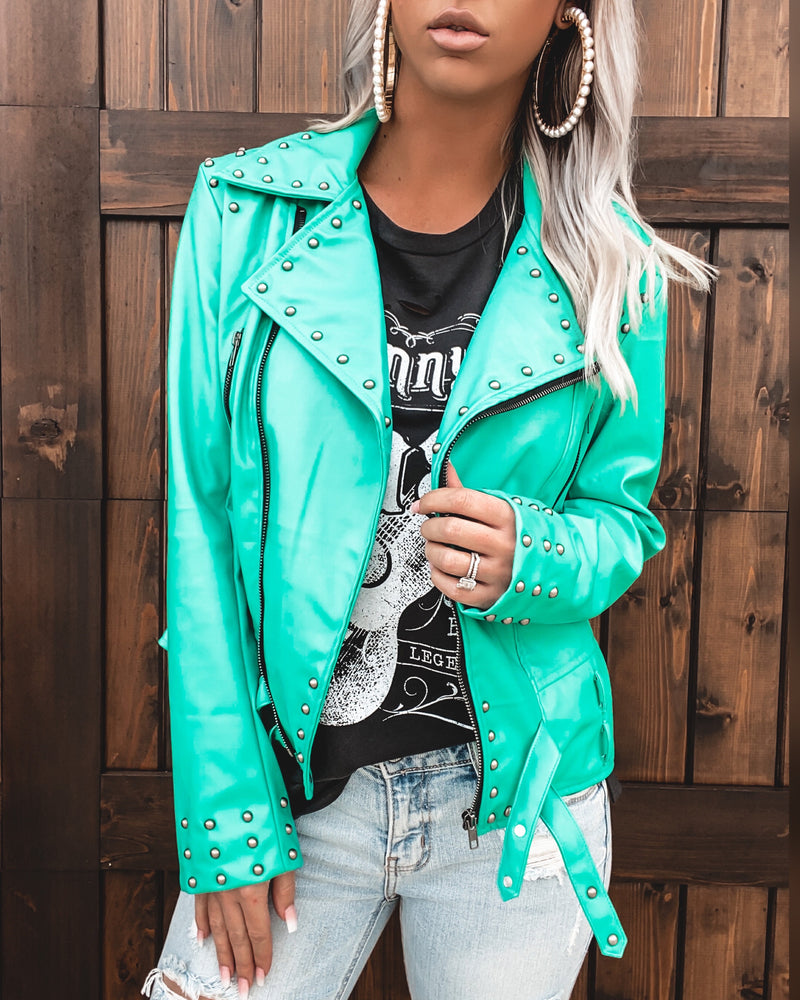 Camaro Faux Leather Jacket - Turquoise