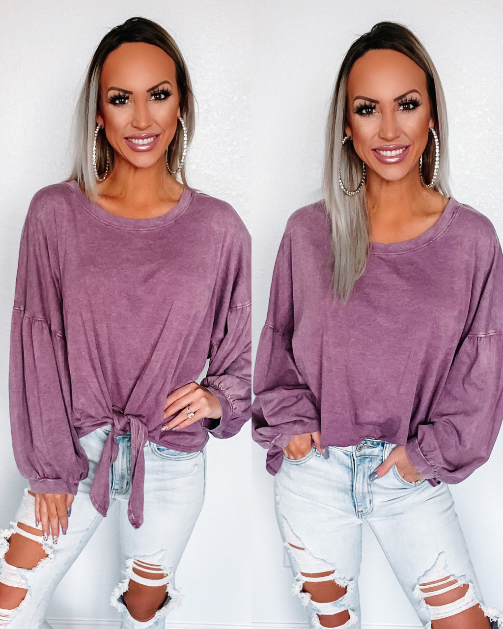 Back Home Puff Sleeve Tie Top - Dusty Mauve